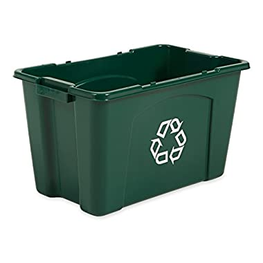 Rubbermaid Commercial Stackable Recycling Bin, 18 Gallon, Green (FG571873GRN)