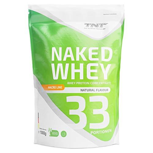 TNT Naked Whey + Laktase – 1kg Whey Protein Konzentrat – Eiweißpulver mit toller Löslichkeit & Geschmack – Proteinpulver (Natural)
