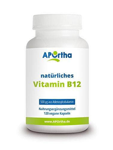 APOrtha® aktiviertes Vitamin B12 I 120 vegane Kapseln mit B12 Vitamin I Hochwertig - hergestellt in Deutschland I 500 µg Adenosylcobalamin B12 aus Fermentation I B12 vegan I B12 hochdosiert