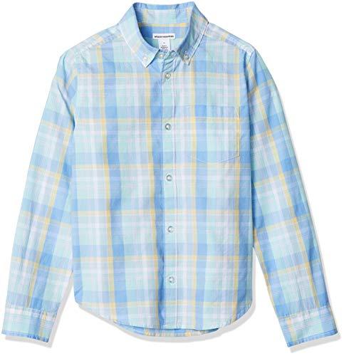 Amazon Essentials - Camisa de popelina/batista de manga larga para niño, Plaid Blue/Teal, US XS (EU 104-110 CM)