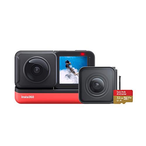 Insta360 ONE R Action-Kamera Wechselobjektiv mit FlowState Stabilization - IPX8 Wasserdicht Stimmenkontrolle (ONE R Twin Edition mit integrierter 32-GB-Speicherkarte)