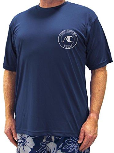 H2O Sport Tech Swim Shirt - Short Sleeve Navy 4XLT #753B