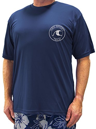 H2O Sport Tech Swim Shirt - Short Sleeve Navy 4XLT #753B