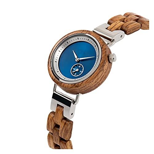 yuyan Reloj de Madera, Reloj de Lentes de Madera de Cebra Natural de Moda y Simple, Movimiento de Cuarzo analógico japonés, Damas