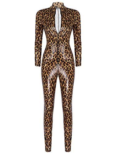 TiaoBug Damen Overall Langarm Jumpsuit Leopard Ganzkörperanzug mit Reisverschluss Sexy Catsuit Bodycon Bodysuit Clubwear Braun Glanz M