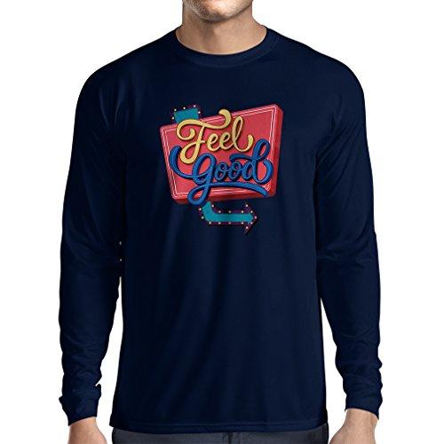Langarm Herren t Shirts Ich fühle Mich gut ! - Inspirierende Kleidung, Zitate über das Leben (Small Blau Mehrfarben)