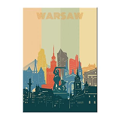 weihuobu Krajobraz miasta Warszawa minimalistyczne plakaty podróżne i nadruki sztuka ścienna obraz na płótnie dekoracja ścienna do domu -50 x 70 cm bez ramki
