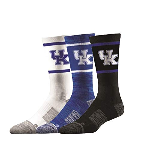 Elite Fan Shop Kentucky Wildcats Socks 3-Pack - Mens (8-12) - Blue