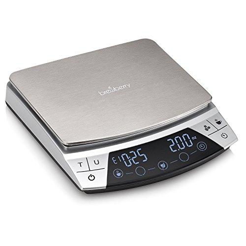 Brewberry Stainless Steel Digital Coffee Drip Scale with LCD Display,Timer and Tare Function,0.1g, 6 Weighing Modes,Maximum Capacity 2000g
