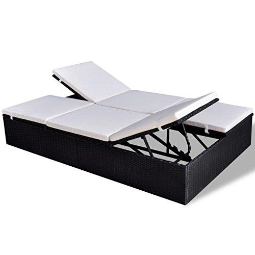vidaXL Tumbona Doble Ajustable de Jardín de Poli Ratán Sintético Negro con Cojín Blanco Asiento de Exterior Hamaca de Piscina Material Tipo Mimbre
