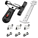 Multi-Function Bike Bicycle Cycling Mechanic Repair Kit - Chain Breaker and Chain Checker Include 6 Pairs Bicycle Missing Link for 6, 7, 8, 9, 10 Speed Chain, Reusable