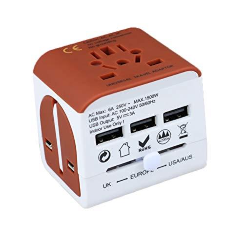 QWZ Enchufe de Adaptador de Viaje Universal con 3 Puertos USB, Dispositivo de Voltaje de Cargador eléctrico para Europa Internacional, China, Reino Unido, Eau, Australia (Color : Beige)