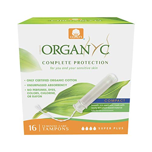 Organyc 100% Certified Organic Cotton Tampons – PlantBased EcoApplicator Super Plus Flow 16 Count