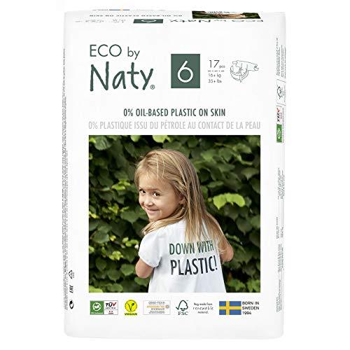 Eco by Naty, Taille 6, 102 couches, 16+kg, Soit UN MOIS d'utilisation. Couche écologique fabriquée à partir de fibres végétales, 0% de plastique (issu du pétrole) au contact de la peau de bébé.