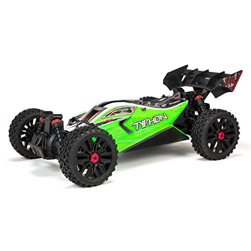 ARRMA 1/8 TYPHON Mega 4x4 RC Speed Buggy 4WD RTR with 2.4Ghz Spektrum Radio, 7C 2400mAh NiMH Battery & Charger, Green/Black (ARA102694)