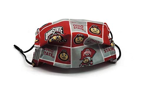 Ohio State Buckeyes OSU Football Face Mask Handmade Two-Layer Cotton Reusable USA Nose Wire Adjustable Ear Bands