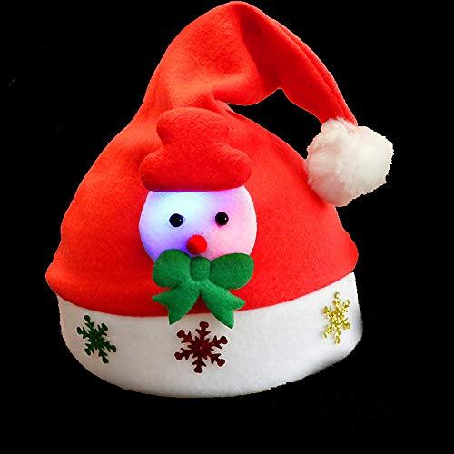 ALITREND 3-delige kerstmuts, kerstmuts met verlichting, zachte kerstman sneeuwman hertenhoed voor kinderen