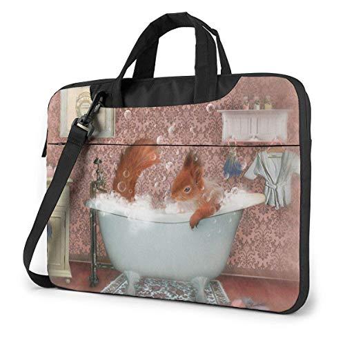 15.6 inch Laptop Tasche Schultertasche Bussiness Messenger Tablet Tasche Laptophülle Miss Eichhörnchen nimmt EIN Schaumbad in der Badewanne