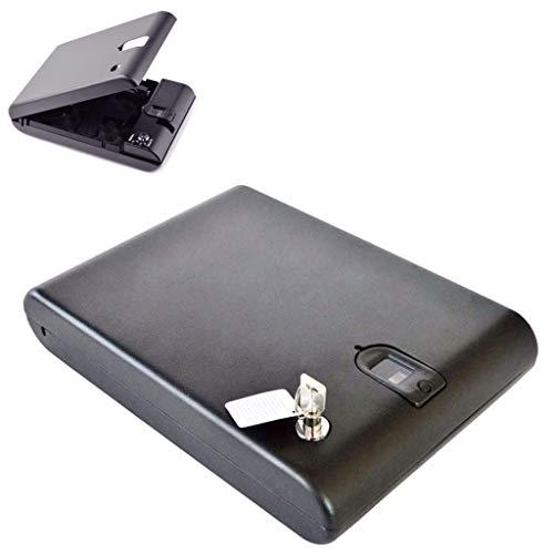MJZYP Caja de Huellas Dactilares Biométrica Portátil para Joyería Caja Fuerte Oculta En El Dormitorio, Caja Fuerte Portátil para Coche con Llave de Repuesto para Guardar Dinero