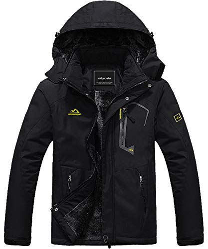 Snowboard Jacket Men Ski Jacket Warm Jacket Rain Jacket Rain Coats Puffer Jacket Waterproof Jacket Tactical Jacket Winter Coats for Men Winter Parka Jacket Raincoat Black