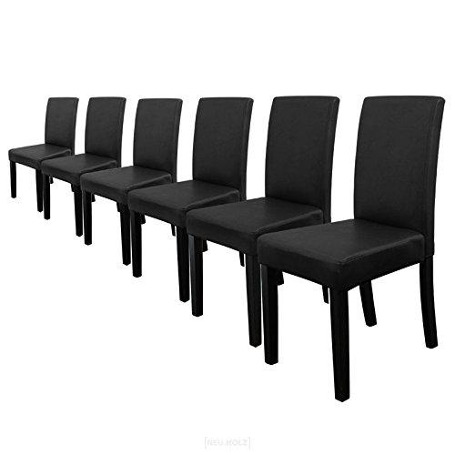 [en.casa] 6 sedie Imbottite (Nero - Opaco) (Ottima qualità) con Piedi in Legno massello/Rivestimento in Similpelle/Elegante /