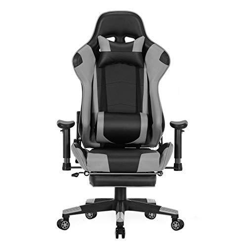 Wolmics Rückenmassage Gaming Stuhl mit Fußstütze,PC Computer Videospiel Racing Stuhl Hohe Rückenlehne Reclining Executive Ergonomic Office Desk Stuhl mit Kopfstütze Lordosenstütze Kissen(Grey)