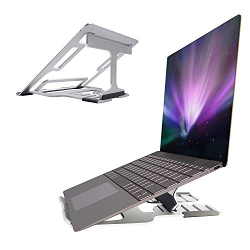 LONGING Laptop Stand, 5-Way Adjustable Notebook Stand, Computer Mount, Portable Laptop Stand Holder, Ventilated for MacBook Surfac, HP, Dell, Asus Computer Stand, 15 Inch ~ 10 Inch Silver
