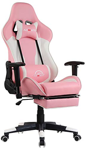 Acmate Girl Gaming Chair Massage Gaming Computer Chair with Footrest Reclining Home Office Chair Racing Style Gamer Chair High Back Gaming Desk Chair with Headrest and Lumbar Support(Pink/White) chair gaming white