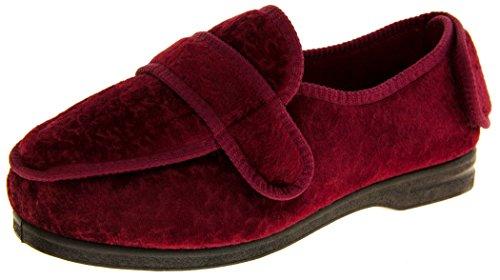 Coolers Bw27a Mujer Rojo Borgoña Correas De Velcro De Ajuste De Ancho Zapatillas Ortopédicos EU 37