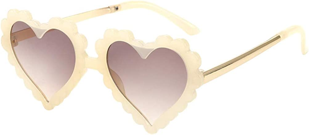 TENDYCOCO Kids Sunglasses Colored Frame Polarized UV Protection Cute Heart Shaped Sunglasses for Girls Beige