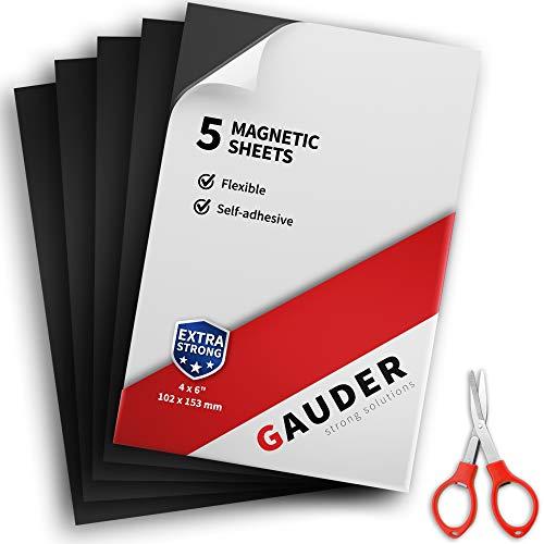 GAUDER Magnetfolie selbstklebend | Magnetische Folie schwarz | Für Fotos, Schilder & Postkarten (5 Stück)