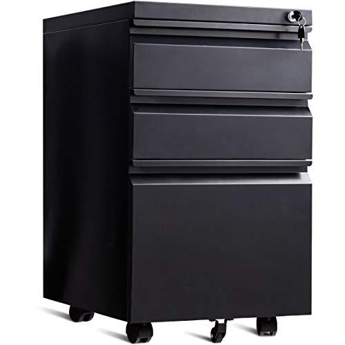 COSTWAY Rollcontainer mit 3 Schubladen, Büroschrank Metall, Aktenschrank abschließbar, Bürocontainer mit Kippschutzrad (Schwarz)