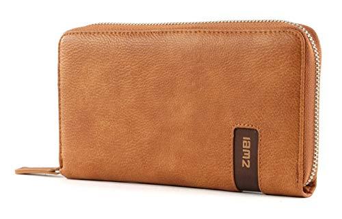 Zwei M.Wallet MW2 Reißverschluss Geldbörse Portemonnaie Geldbeutel Brieftasche Portmonee, Farbe:Zimt
