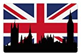 Ambesonne Union Jack Pet Mat for Food and Water, Houses of The Parliament Silhouette on UK Flag Historic Urban Skyline,...
