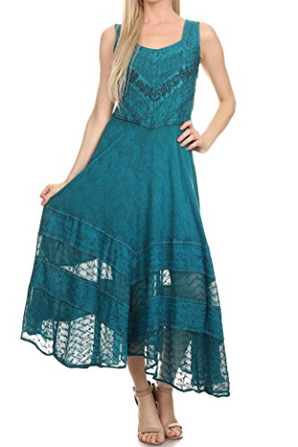 Sakkas 15225 - Zendaya Stonewashed Rayon Embroidered Floral Vine Sleeveless V-Neck Dress - Turquoise Blue - 1X/2X