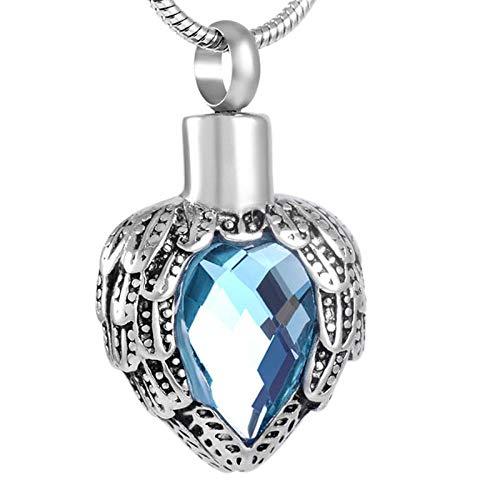 JJPRFO Colgante de corazón de ala de Acero Inoxidable de Esquina de cremación y Collar de Ceniza de urna Conmemorativa de Piedra de Cristal