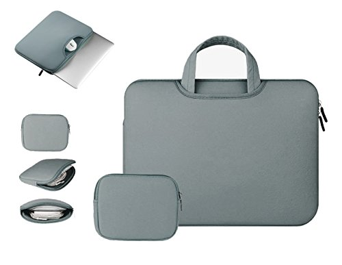 Anitech® Funda PC portátil/funda/caja mango bolsa, MacBook Laptop Sleeve para Apple iPad Pro y ordenador portátil/Macbook Pro/MacBook Air/MacBook Pro Retina Ultrabook/tablet/Asus – con bolsa accesorios gratis gris gris oscuro 15 - 15.6pouces