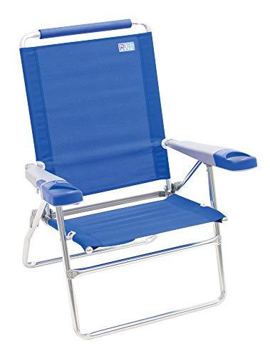"Rio Beach 15"" Extended Height 4 Position Folding Beach Chair - Light Blue"