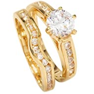 Free Engraving! Ah! Jewellery Ladies 18kt Genuine Gold Filled Simulated Diamonds Ring & Channel Eter...