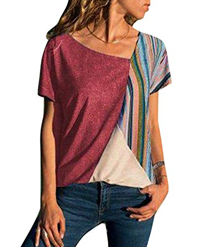 YOINS Sexy Schulterfrei Oberteil Damen Sommer Tshirt für Damen Tunika Off Shoulder Tops Gestreift Pulli Hemd