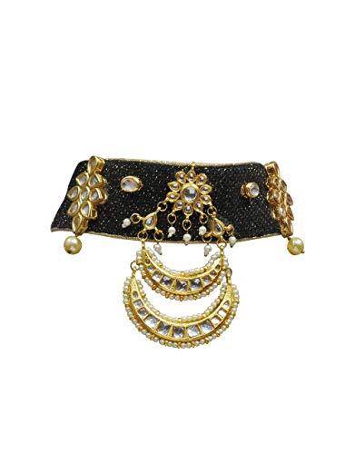 Babosa Sakhi - Gargantilla de yute con perla étnica de Kundan de estilo indio, joyería tradicional Negro