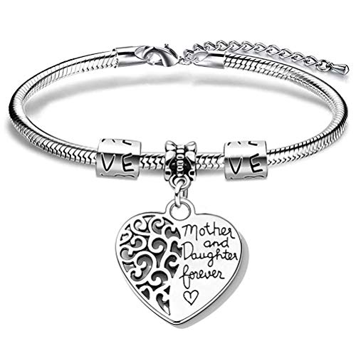 spier Mother Daughter Bracelets, Creative Matching Heart Charm Snake Bangles for Mother's Day Daughter Birthday Gifts