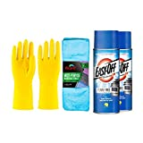 (NEW) EasyOff Fume Free Lemon Scent Oven Cleaner Spray 14.5 oz. (2 pack) Bundle with Guard Microfiber cleaning cloth 2 pack + Cleaning Gloves