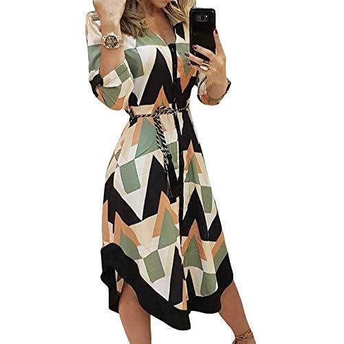 I3CKIZCE Midi - Vestido de cóctel informal para mujer, cuello en V, estampado floral de manga larga, con cordón, elegante, sexy, Verde, XXL