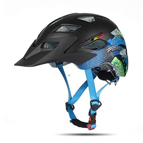 SUNRIMOON Kinder Fahrradhelm Jugend Fahrradhelm mit USB aufladbarem Rücklicht, Scooter Skateboard Radfahren Helm abnehmbares Visier einstellbare Größe von Kind zu Jugend für Jungen Mädchen Alter 5-14