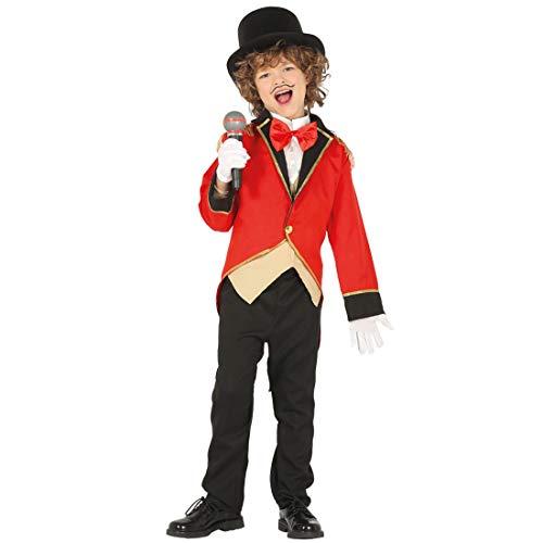 Amakando Estilizado Uniforme Director de Circo para niño/Rojo 7-9 años, 127-132 cm/Disfraz de Circo domador de león para niño/El Punto Alto para Carnaval Infantil y Fiesta temática