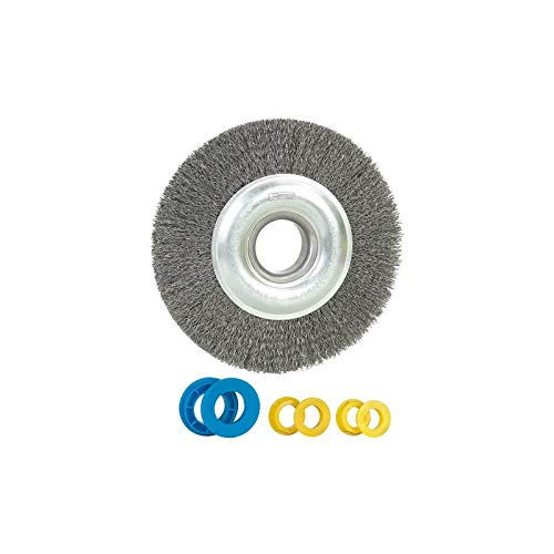 Ribitech - Brosse métallique pour touret D. 150 mm Al. 32 mm + bagues 20-14-12,7 mm, ép. 18mm, fil acier 0,35 mm - PRTMBR150R3 - Ribitech