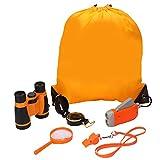Kit de Binoculares para niños - Binoculares para Niños Linterna de Manivela Brújula Lupa Silbato y Mochila con Cordones Juguetes de Exploración 6uds(naranja)