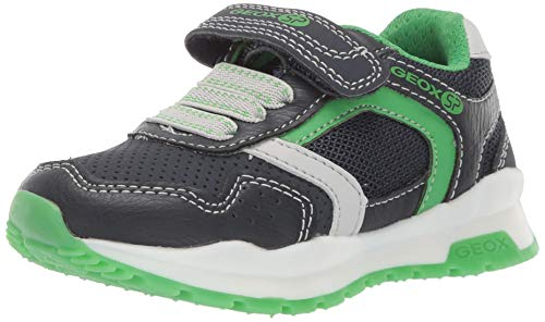 Geox CORIDAN Boy J845DD Jungen Slip-On Sneaker,Kinder Halbschuh,Sportschuh,Slipper,Gummizug,Klettverschuss,Navy/Green,31