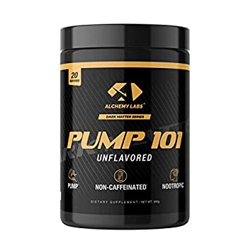 Alchemy Labs - Pump 101 Nitric Oxide Booster Non-Stimulant Pre-Workout Powder L-Citrulline Beta Alanine Agmatine Sulfate Nootropics 20 Servings Unflavored